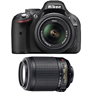 Nikon D5200 Digital SLR Camera & 18-55mm G VR DX AF-S Zoom Lens (Black) with 55-200mm VR Zoom-Nikkor Lens