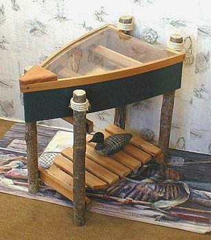 Image of Boat End Table w/ Log Legs Marine Blue (B00074VIZ0)