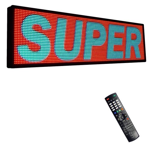 "Led Super Store Signs 3 Color (Rgy) 28"" X 53"" - Programmable Scrolling Display, Storefront Message Board - Industrial Grade Business Tools, Emc"