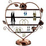 Copper Color Heart-Shaped with Roses Earring Holder / Earring Tree / Earring Oraganizer / Earring Stand / Earring Display