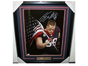 JJ WATT American Flag AUTOGRAPHED FRAMED 16X20 PHOTO JSA COA HOUSTON TEXANS