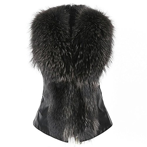 Fedi Apparel Black Women Faux Fur&Leather Outwear Coat Jacket Waistcoat Fur Collar Gilet (Sexy Fur Coat)