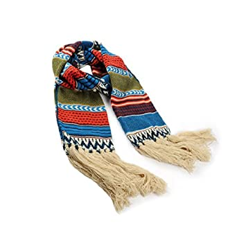 Mens Novelty Printed Tassel Trimed New Fashion Boho Chic Scarf