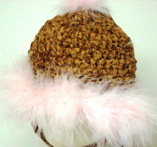 Hand Crocheted Dark Brown Chenille Hat Trimmed