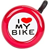 I Love My Bike Bicycle Bell in Chrome, Red, Blue, Pink, or White
