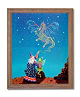 Magical Dragon And Wizard Kids Room Fantasy Home Decor Wall Picture Oak Framed Art Print