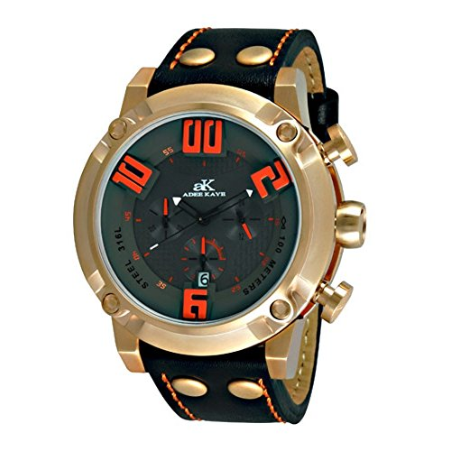 Adee Kaye #AK7280-MRG Men's Rose Gold Tone 3-D Pop Stainless Steel Leather Band Chronograph Watch