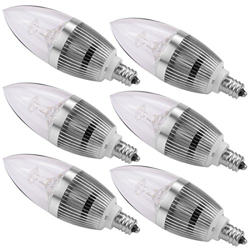 LEDMO LED Candelabra Bulbs,E12 3W Cool White Non-dimmable Silver(6 Pack) (Blue Led Fridge Bulb compare prices)