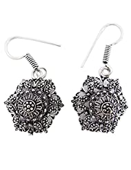 Banithani Silver Tone Dangle Earring Set In Carved Design Fashion Gift Jewellery For Women - B00T9M9592