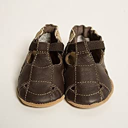 Robeez Soft Soles Sandal Crib Shoe (Infant/Toddler),Brown/Brown,6-12 Months (2.5-4 M US Infant)