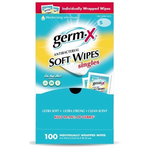 Germ-X Antibacterial Hand Sanitizing Wipes - Premium Brand with Moisturizing Vitamin E - 100 Individually Wrapped Travel Packets - Large 6