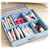 Periea Underbed Shoe Storage Organiser (holds 3-12 pairs) - strong storage box solution with lid - (Blue) Sami