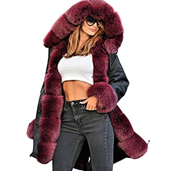 Roiii Vintage Women Military Faux Fur Hooded Winter Warm Coat Ladies Jacket Size 8-18