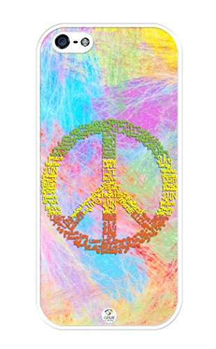 iZERCASE iPhone SE, iPhone 5S Case Colorful Peace Sign on Colorful Background RUBBER CASE - Fits iPhone SE, iPhone 5S T-Mobile, Verizon, AT&T, Sprint and International