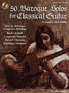 50 Baroque Solos For Classical Guitar. Partitions, CD pour Guitare, Tablature Guitare, Guitare Classique