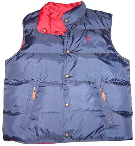 Polo Ralph Lauren Mens Reversible Down Puffer Vest Jacket Navy/Red, X-Large