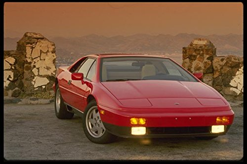 Red Lotus Esprit with lights on - A4 Photo Poster