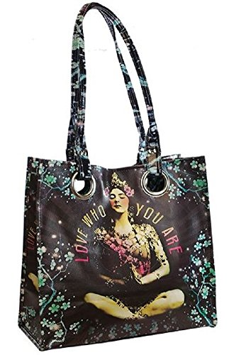 Papaya Art Temple Girl Love Who You Are Luxe Oil Cloth Vegan Tote Handbag Purse