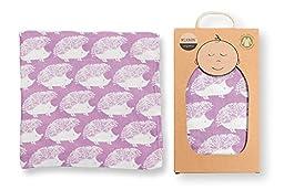 Milkbarn Muslin Swaddle Blanket Lavender Hedgehog