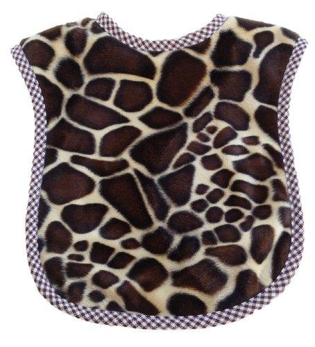 Patricia Ann Designs Giraffe Fleece Reversible Bib With Check Trim, Chocolate Brown/Tan front-630083
