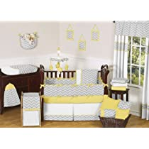 Modern Gray and Yellow Zig Zag Grey Baby Boy Girl Unisex 9pc Bedding Crib Set