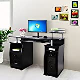 Songmics 115 x 55 x 85 cm MDF Computer Desk with Sliding Keyboard and Cupboard Drawers 4 Shelves for Storage Office Workstation for Home and Office Use, Black LCD861B