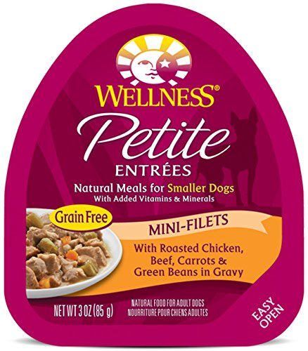 Wellness Petite Entrees Small Breed Mini Fillets Grain Free Roasted Chicken & Beef Natural Wet Dog Food, 3-Ounce Cup (Pack of 24)