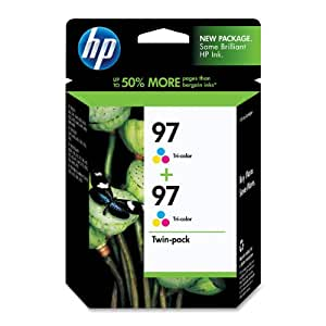 HP 97 Tri-Color Ink Cartridge in Retail Packaging, Twin Pack