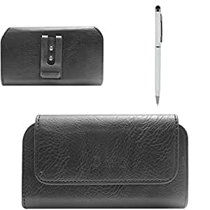 DMG Premium PU Leather Cell Phone Pouch Carrying Case with Belt Clip Holster for Panasonic Eluga S (Black) + Pen Stylus