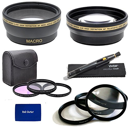 52Mm Multi Coated 3 Piece Digital Filter Kit (Uv-Cpl-Fld) + Close-Up Macro Filter Set +1 +2 +4 +10 + 0.43X Professional Hd Auto Focus Wide Angle Lens With Macro & Pro Series 2.2X High Definition Af Telephoto Lens + Lens Cleaning Pen + Rnd Microfiber Cloth