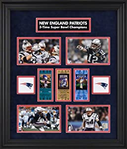 New England Patriots Framed Super Bowl Ticket Collage-Limited Edition of 1000 by Mounted Memories