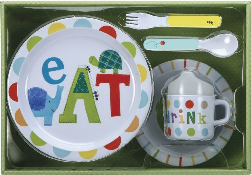 C. R. Gibson Melamine Dinnerware Set, Alphabet Animals - 1