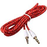 JYARA Fabric Woven Braided 3.5mm To 3.5mm Universal AUX TangleFree Auxiliary Cable For Car Stereo,Mobile Phones,CD,MP3,DVD,MP4 Players 1.5m Long Colorful Tangle Free. Compatible With Apple Apple IPhone 5C