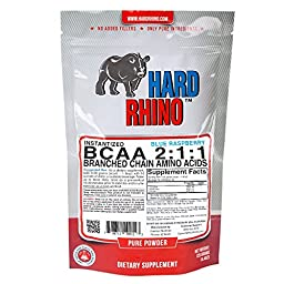 Hard Rhino BCAA 2:1:1 Instantized Powder, Blue Raspberry, 125 Grams, 19 Servings