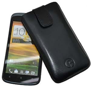 Original Favory Etui Tasche fuer / HTC One SV / Leder Etui Handytasche Ledertasche Schutzhuelle Case Huelle *Speziell - Lasche mit Rueckzugfunktion* In Schwarz