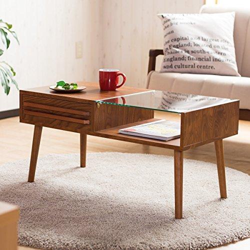センターテーブル スタイリッシュ ディスプレイ 木目調 強化ガラス 収納付き ブラウン色Bタイプ