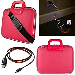 SumacLife Cady 12.9-inch Tablet Bag for Apple iPad Pro with Lightning Micro USB Data Cable (Pink)