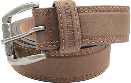 Wolverine-Mens-Double-Topstitched-Leather-Belt-Roller-Buckle