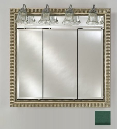 Afina Corporation TD-LT4434RCOLGN 44 in.x 34 in.Recessed Triple Door Cabinet with Traditional Lights - Colorgrain Green