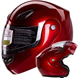Metallic Wine Red Modular Flip up Motorcycle Helmet DOT #936 (Small)