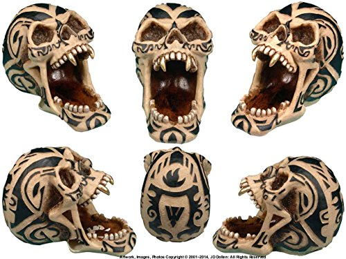 Tribal Tattoo Human Skull - Open Mouth Ashtray - Gifts and Home Decor By Nose Desserts Brand