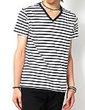 (リピード) REPIDO Tシャツ カットソー メンズ 半袖 Vネック ボーダー ボーダーTシャツ 半袖Tシャツ 無地 白黒 ホワイト×ネイビー(太) M