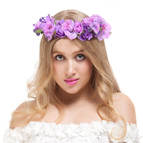 Valdler Exquisite Camellia Berries Flower Crown with Adjustable Ribbon for Wedding Festivals Purple