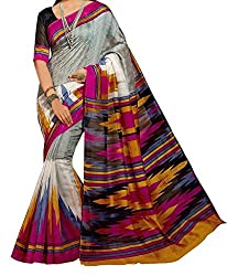 RGR Enterprice Woman's Bhagalpuri Designer Saree (Parvati Print_Multi-Coloured_Free Size)