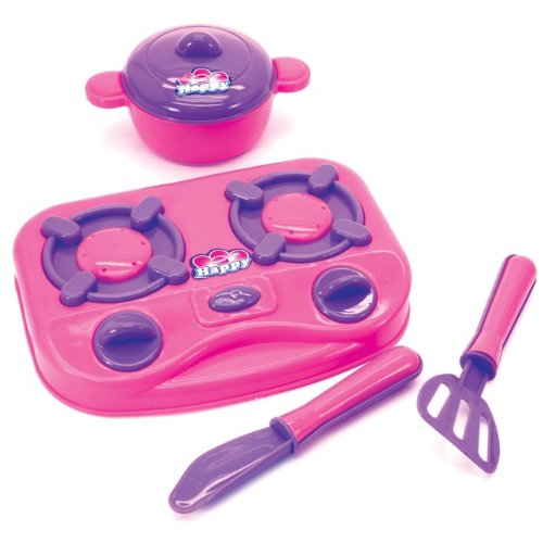 "Kids Kitchen Set 7"" Hot Plate With Pan Lid And 2 Utensils Girls Party Toy Gift"
