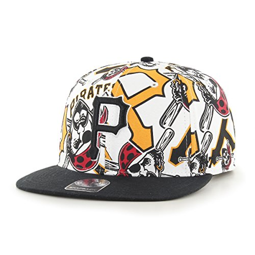 MLB Pittsburgh Pirates Bravado '47 Captain Adjustable Snapback Hat, White, One Size,White