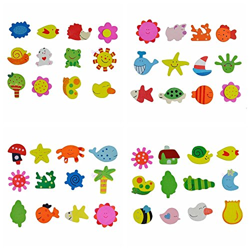 E-TING Colorful Animal Wooden Fridge Magnets Sticker Educational Toys