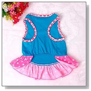 Small Dog Dress , Voberry? Fashion Pet Dog T-Shirt Dress Dog Cat Cute Summer Vest Skirt (S, Blue)