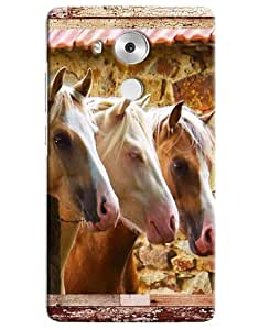 Omnam Three Horses Pattern Printed Designer Back Cover Case For Huawei Honor Mate 8