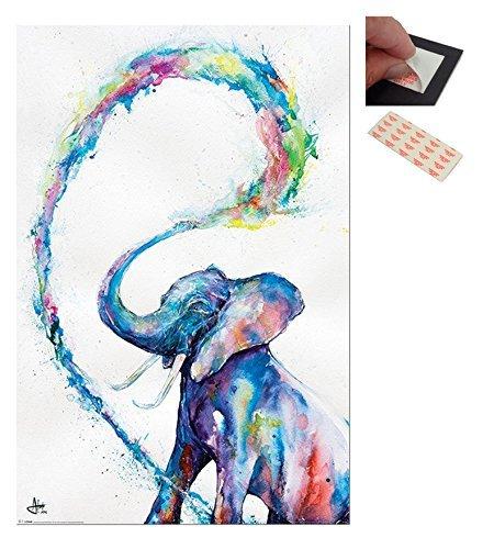 Confezione - 2 Articoli - Marc Allante Elefante Poster Artistico - 91.5 x 61cms (91.4x61cm) e un Set di 4 Cuscinetti Adesivi Riposizionabili Per Facile Fissaggio a Parete